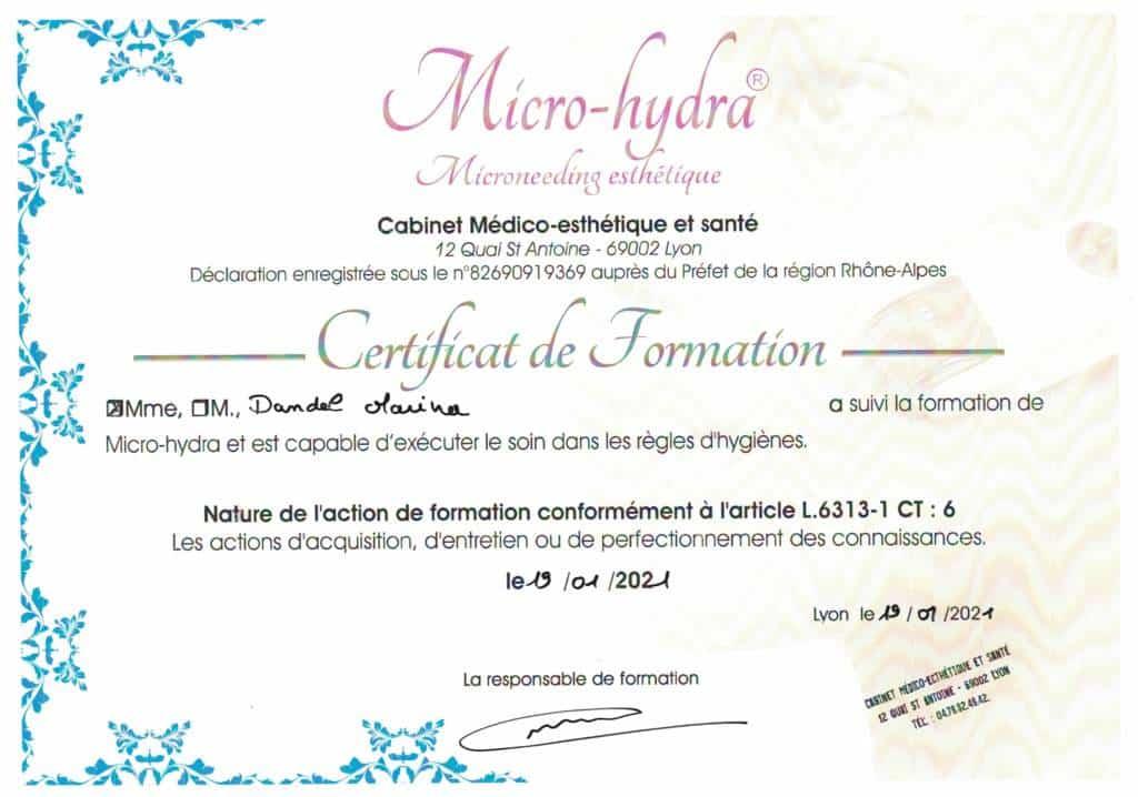 certificat hydrafacial